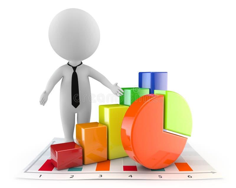 3d leuke mensen - financiële document en grafiek vector illustratie