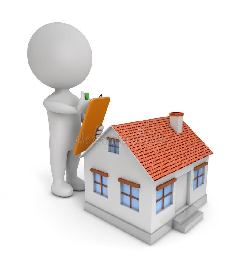 3d leuke mensen - huiscontrole vector illustratie