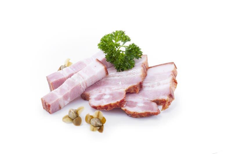 D?licatesse de viande de morceaux de c?telette de lard Le saindoux de graisse a isolé images libres de droits
