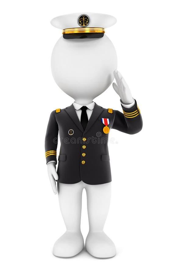 3d lieutenant biali ludzie royalty ilustracja