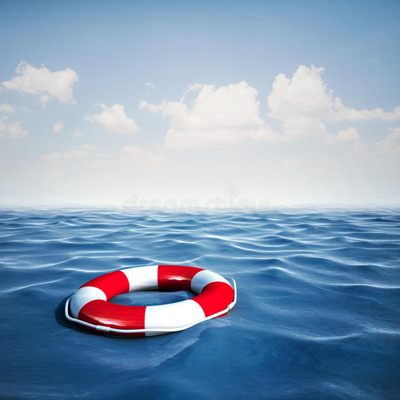3d life buoy and blue ocean with blue sky vector illustration