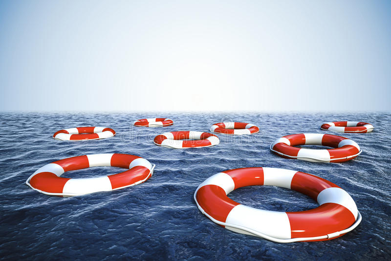 3d life buoys and blue ocean with blue sky stock illustration