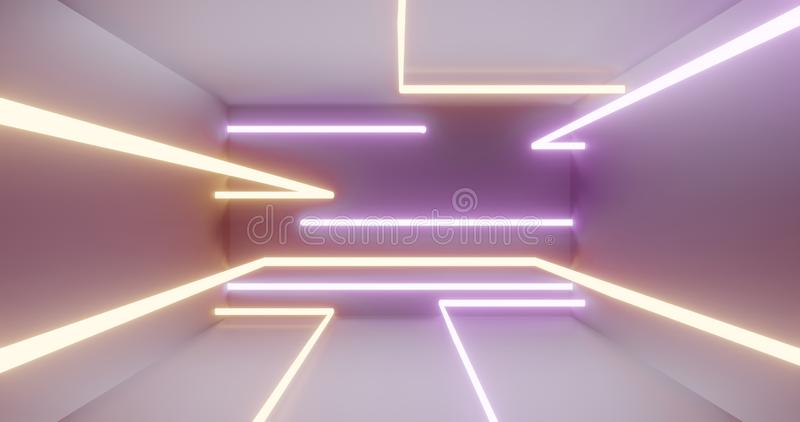 3d light tubes neon colors, white light scene 3d render royalty free illustration