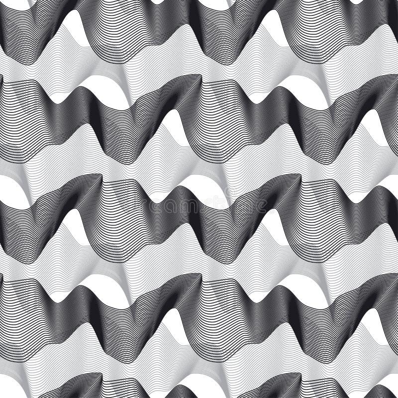 3d lignes onduleuses dynamiques modèle sans couture illustration stock