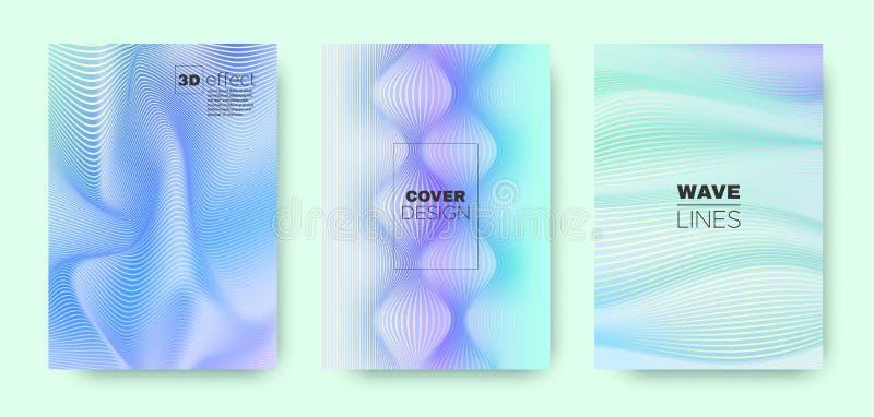 3d Line Banner. Wave Flow Shape. Purple Abstract. Brochure. Gradient Distorted Texture. Gradient 3d Line Design. Wave Fluid Cover. Pastel Minimal Background vector illustration