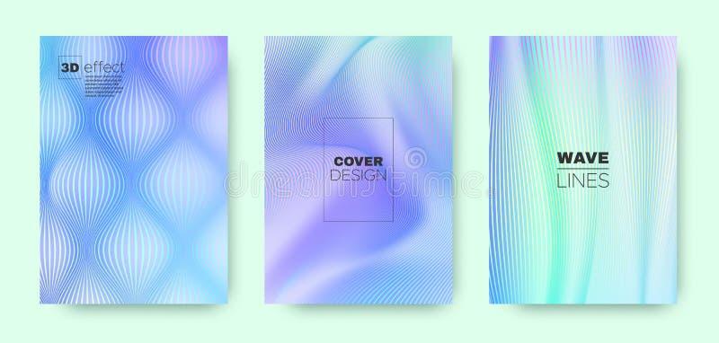 3d Line Concept. Wave Flow Poster. Purple Minimal. Brochure. Gradient Halftone Texture. Gradient 3d Line Concept. Wave Fluid Poster. Blue Abstract Background royalty free illustration