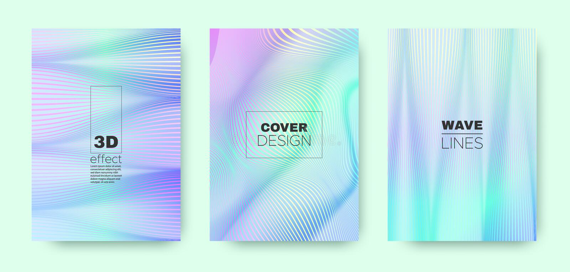 3d Line Design. Wave Flow Poster. Purple Vector. Brochure. Gradient Striped Pattern. Gradient 3d Line Banner. Wave Fluid Shape. Blue Modern Background. Pastel stock illustration