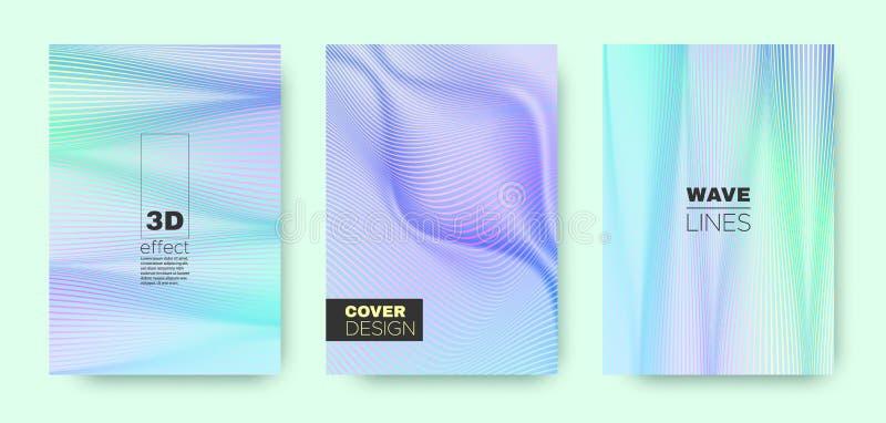 3d Line Design. Wave Flow Shape. Blue Vector. Background. Gradient Halftone Texture. Gradient 3d Line Design. Wave Fluid Poster. Purple Modern Wallpaper. Purple royalty free illustration
