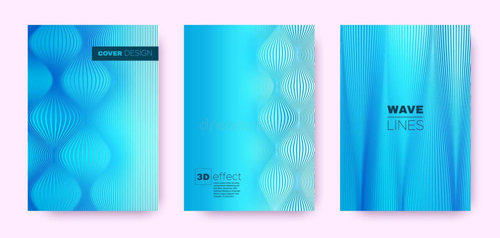 3d Lines Banner. Wave Flow Cover. Blue Modern. Brochure. Gradient Geometric Texture. Gradient 3d Lines Cover. Wave Flow Banner. Blue Dynamic Background. Neon 3d stock illustration