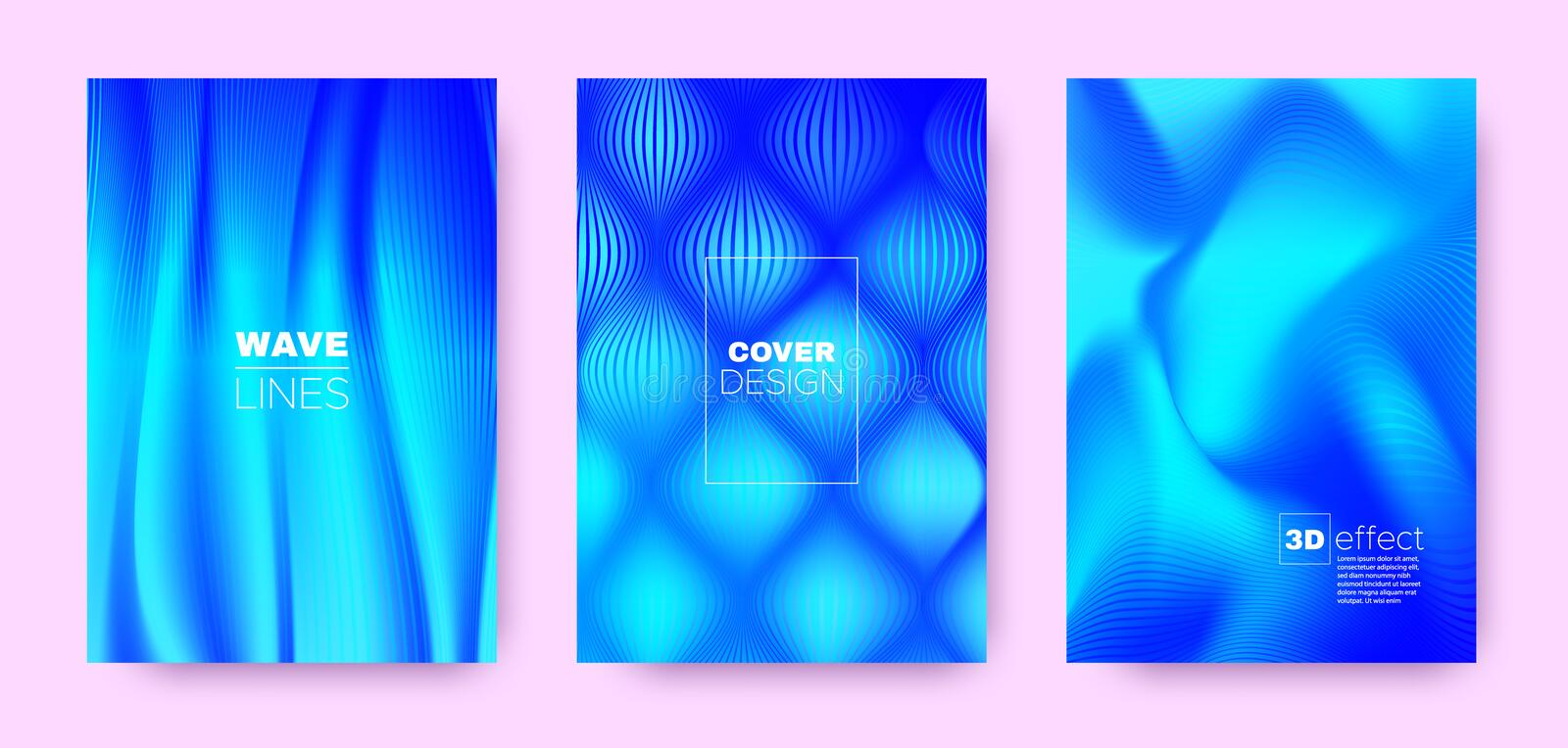3d Lines Banner. Wave Flow Poster. Blue Dynamic. Background. Gradient Distorted Texture. Gradient 3d Lines Cover. Wave Flow Concept. Blue Abstract Brochure royalty free illustration