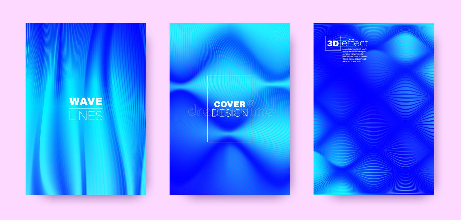 3d Lines Banner. Wave Flow Poster. Blue Modern. Wallpaper. Gradient Halftone Texture. Gradient 3d Lines Shape. Wave Fluid Design. Blue Abstract Brochure. Blue royalty free illustration