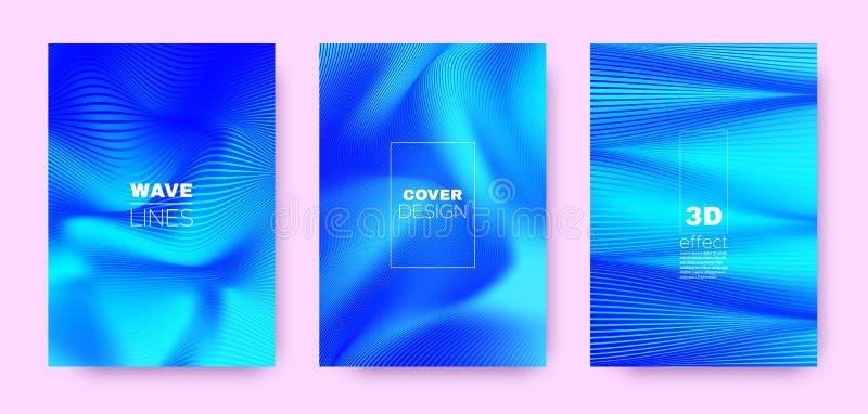 3d Lines Banner. Wave Flow Shape. Blue Dynamic. Brochure. Gradient Striped Pattern. Gradient 3d Lines Shape. Wave Fluid Design. Blue Minimal Wallpaper. Blue 3d vector illustration