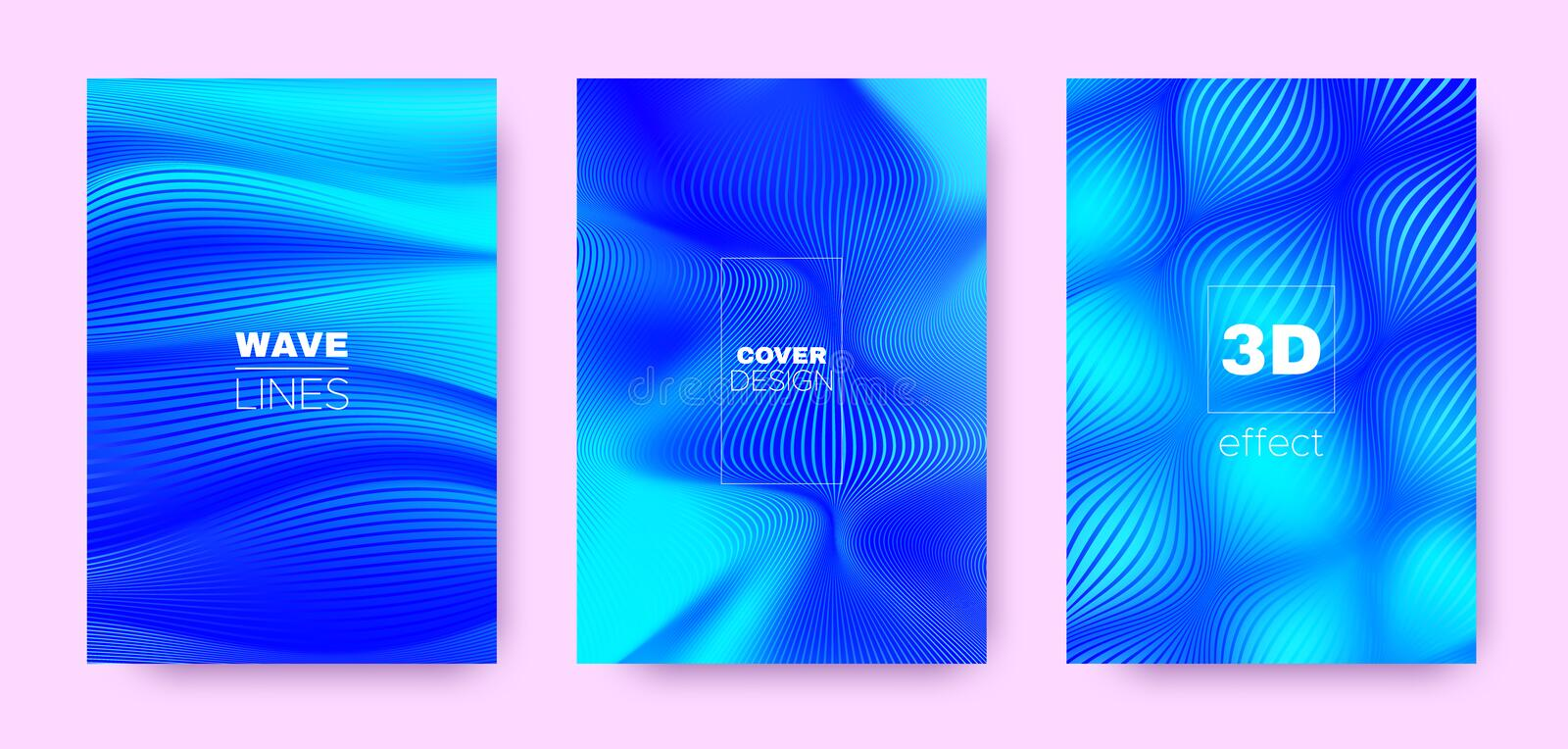 3d Lines Banner. Wave Flow Shape. Neon Abstract. Wallpaper. Gradient Striped Pattern. Gradient 3d Lines Poster. Wave Fluid Concept. Neon Abstract Background vector illustration