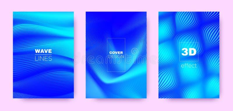 3d Lines Concept. Wave Flow Cover. Blue Minimal. Background. Gradient Halftone Texture. Gradient 3d Lines Cover. Wave Flow Banner. Neon Vector Wallpaper. Neon royalty free illustration