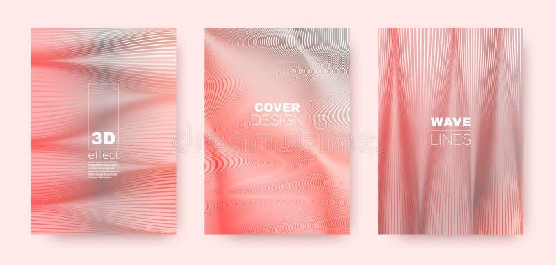 3d Lines Flyer. Wavy Flow Banner. Abstract. Distorted Texture. Coral Gradient Wallpaper. 3d Lines Poster. Wavy Fluid Flyer. Pink Gradient Concept. Vector vector illustration
