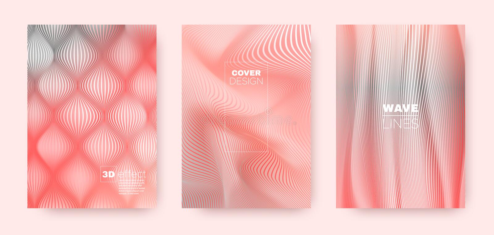 3d Lines Flyer. Wavy Flow Design. Vector Striped. Pattern. Pink Gradient Wallpaper. 3d Lines Concept. Wavy Fluid Flyer. Coral Gradient Concept. Dynamic Gradient vector illustration