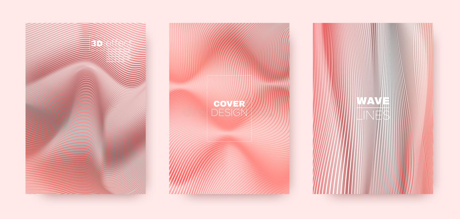 3d Lines Flyer. Wavy Flow Poster. Modern. Distorted Texture. Coral Gradient Background. 3d Lines Banner. Wavy Flow Shape. Red Gradient Design. Abstract Gradient vector illustration
