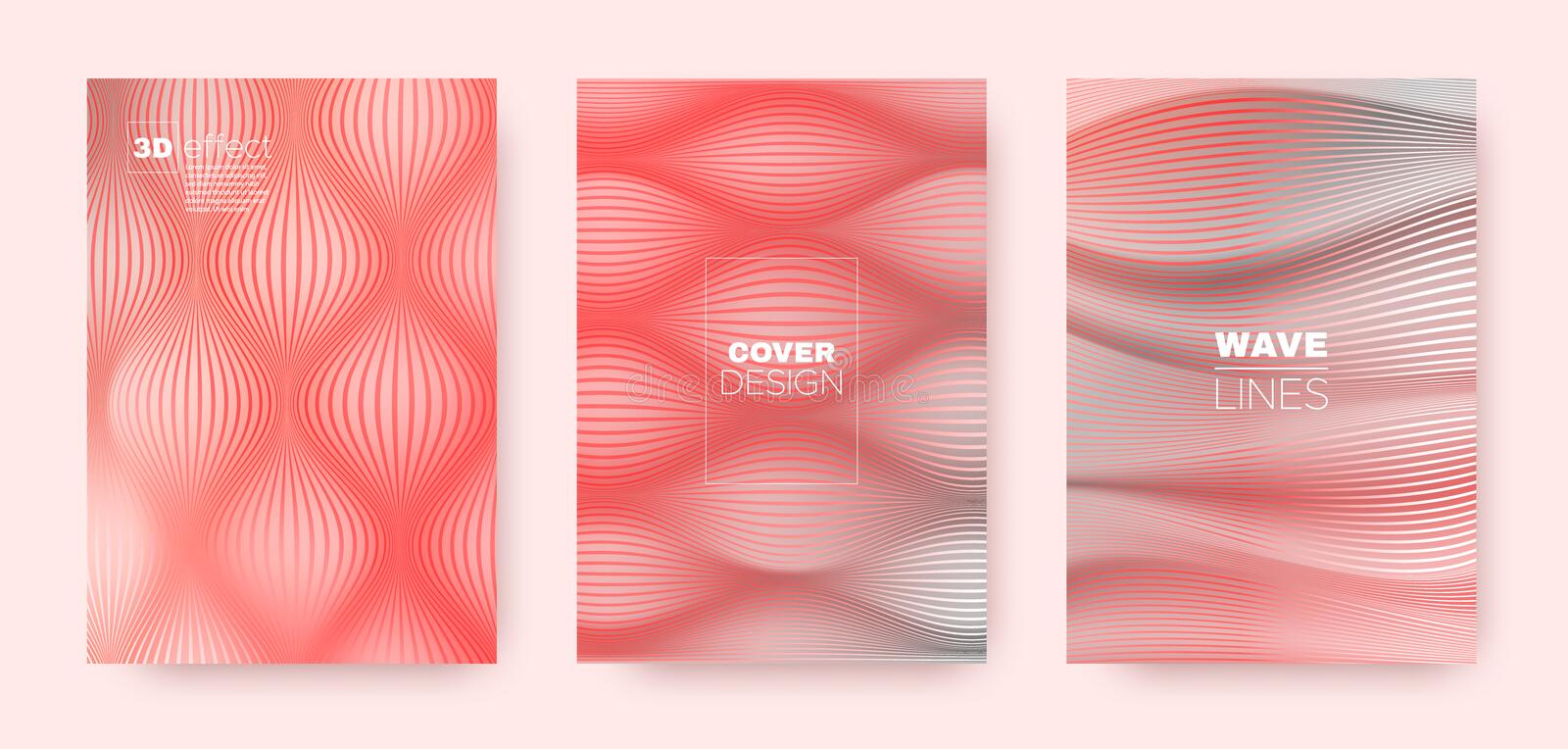3d Lines Shape. Wavy Flow Banner. Abstract. Geometric Stripes. Pink Gradient Brochure. 3d Lines Banner. Wavy Fluid Flyer. Coral Gradient Design. Minimal royalty free illustration