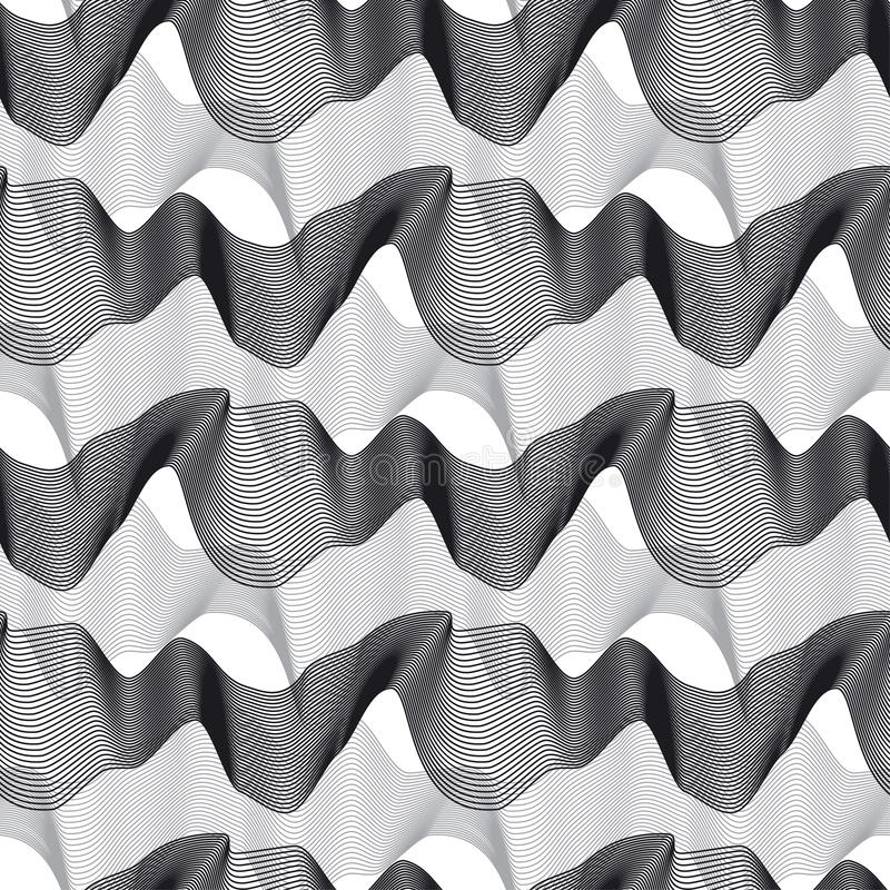 3d linhas onduladas dinâmicas teste padrão sem emenda ilustração stock