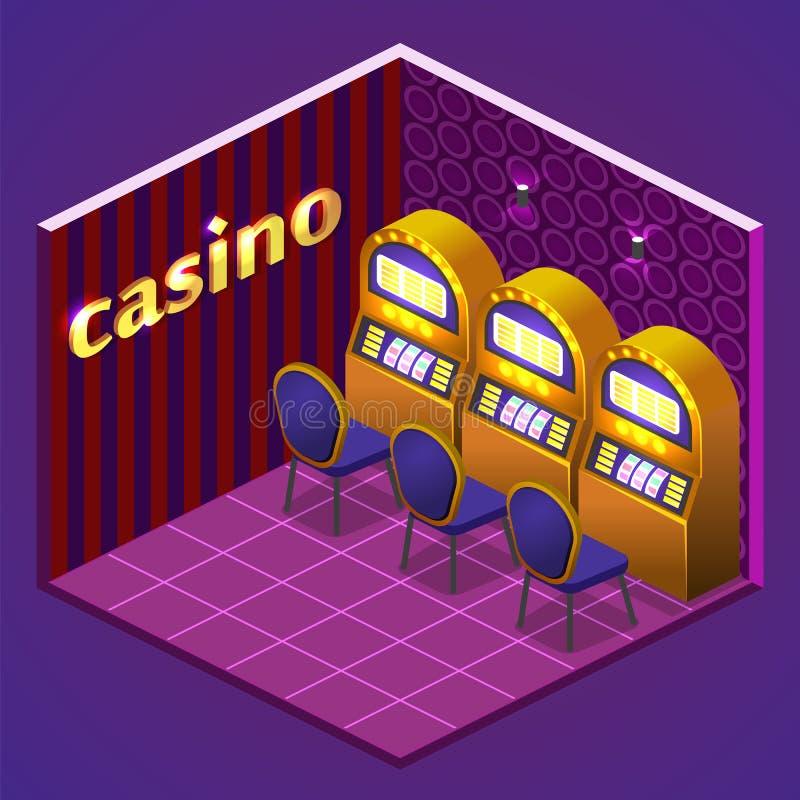 3D liso isométrico isolou casino interior cortante do conceito ilustração royalty free