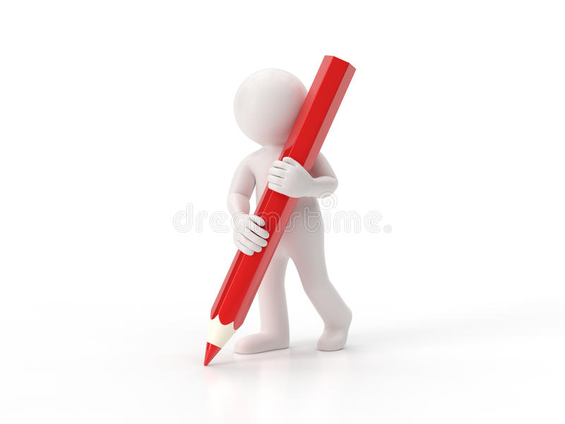 3d litet folk - blyertspenna vektor illustrationer
