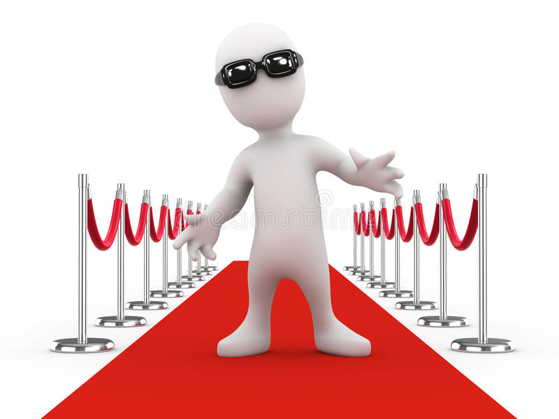 3d Little celebrity on the red carpet royalty free illustration