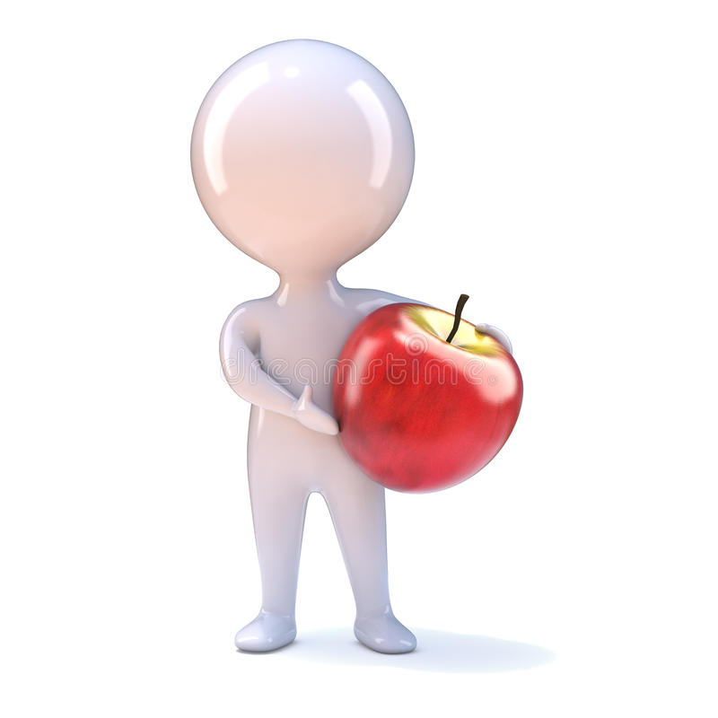 3d Little man with an apple stock illustration