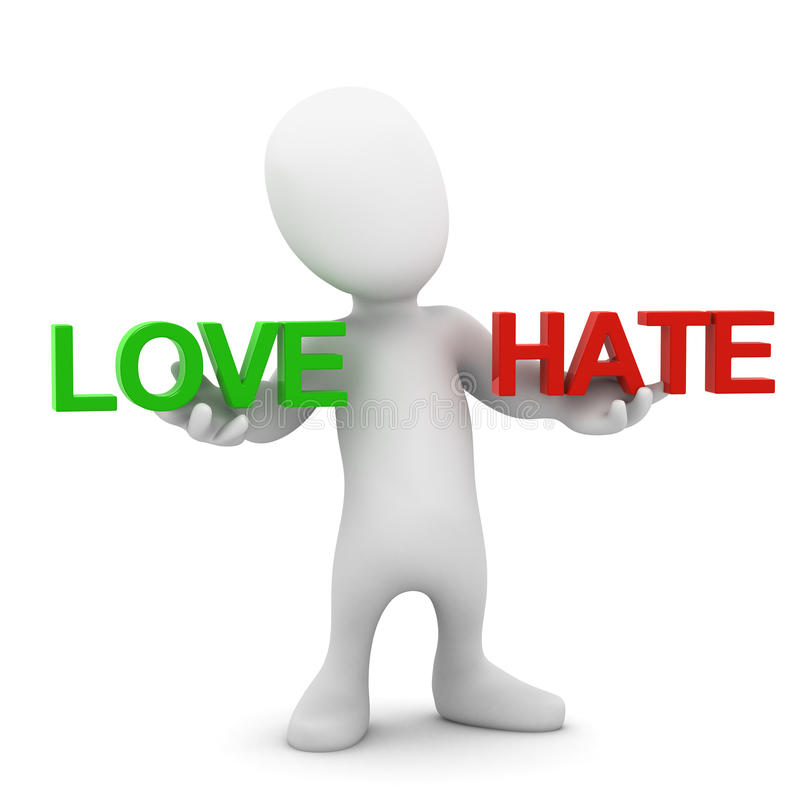3d Little man balances Love and Hate. 3d render of a little person holding the words Love and Hate vector illustration