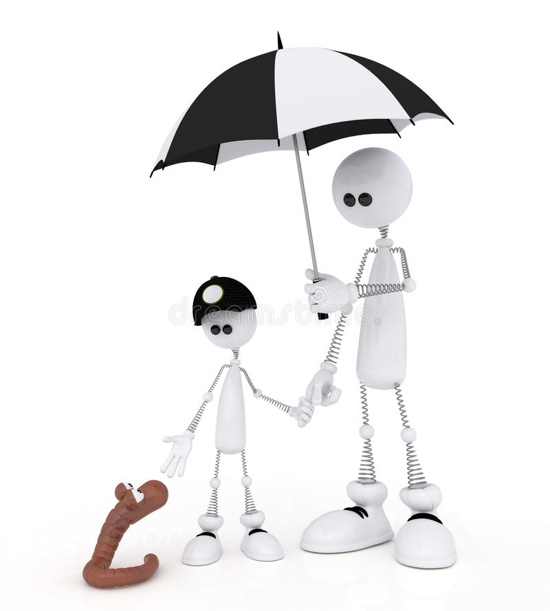 Download The 3D Little Man With The Child On A Rain. Stock Photo - Image: 32465010