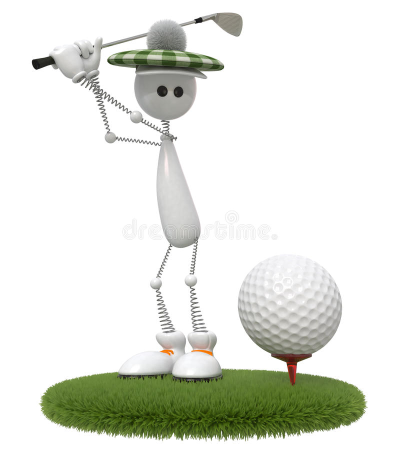 3d little man golfer. Game the best occupation outdoors after work stock illustration