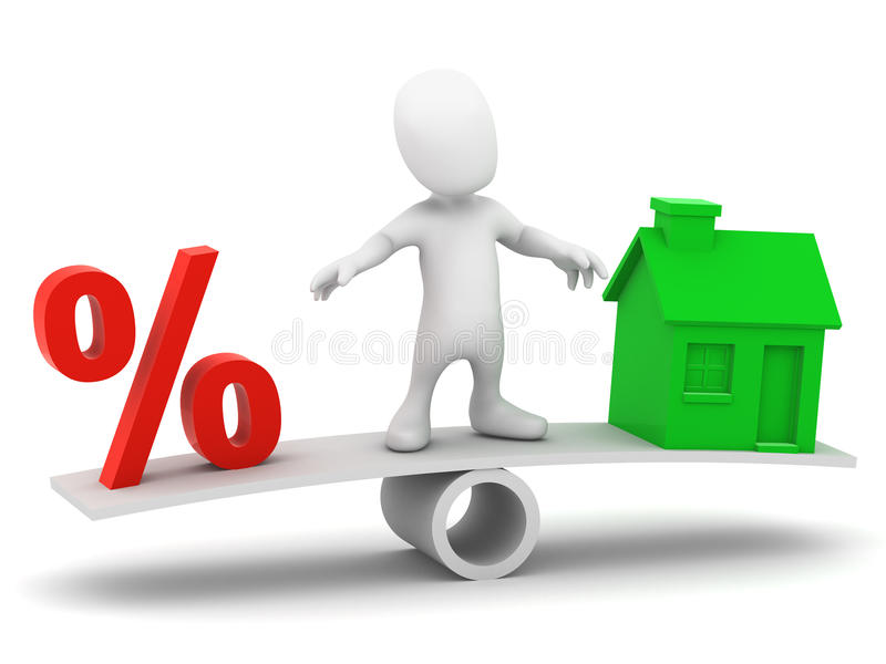 Download 3d Little Man On Housing See-saw Stock Illustration - Image: 39596599