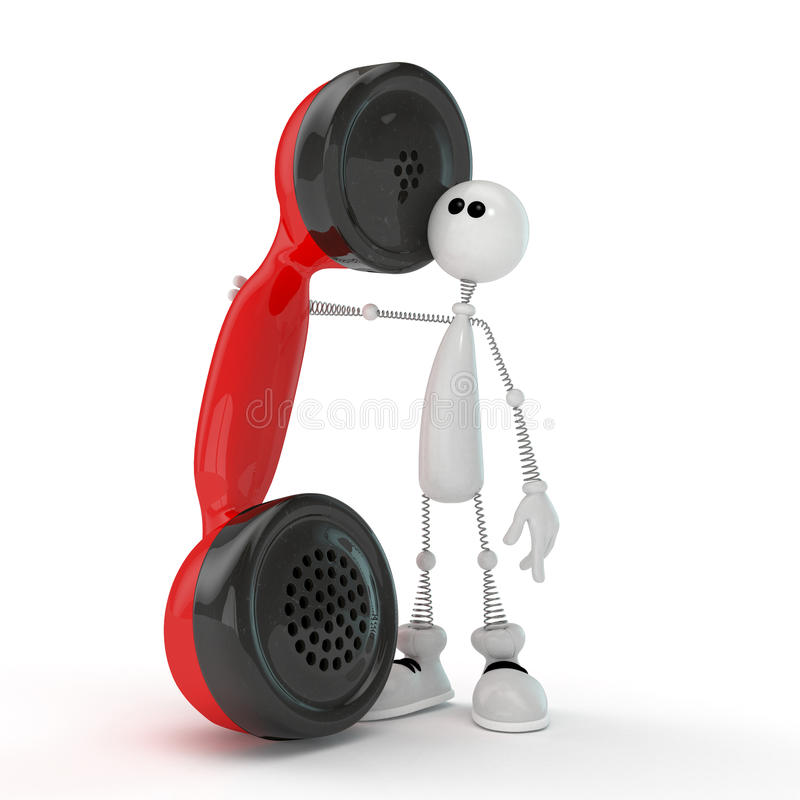 Download The 3D Little Man With Phone. Stock Illustration - Image: 34246669