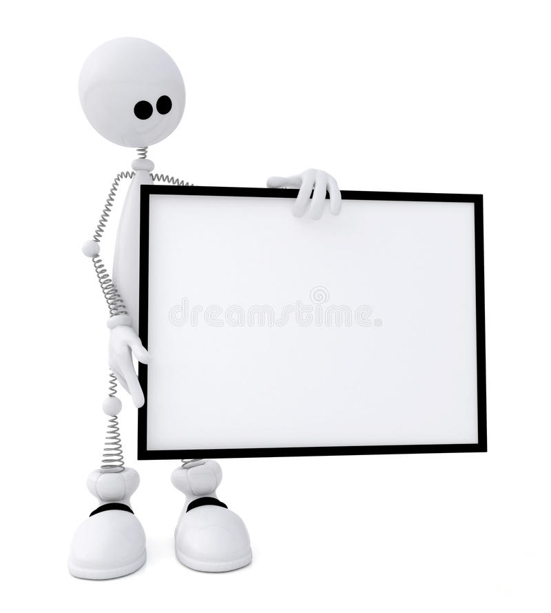 Download The 3D Little Man With A Sign. Stock Illustration - Image: 31868005