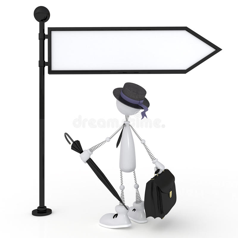 The 3D Little Man With A Signboard. Royalty Free Stock Images