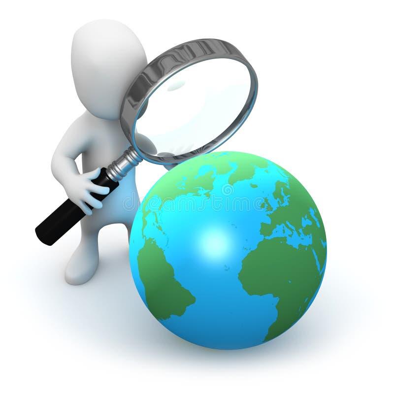 3d Little man studies a globe of the Earth stock illustration