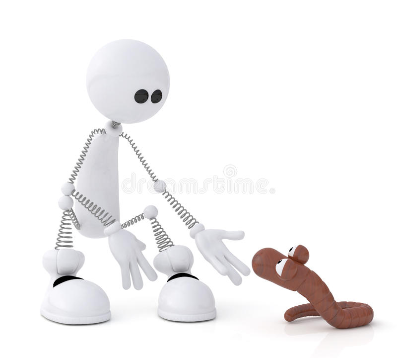 Download The 3D Little Man With A Worm. Royalty Free Stock Photos - Image: 32481378