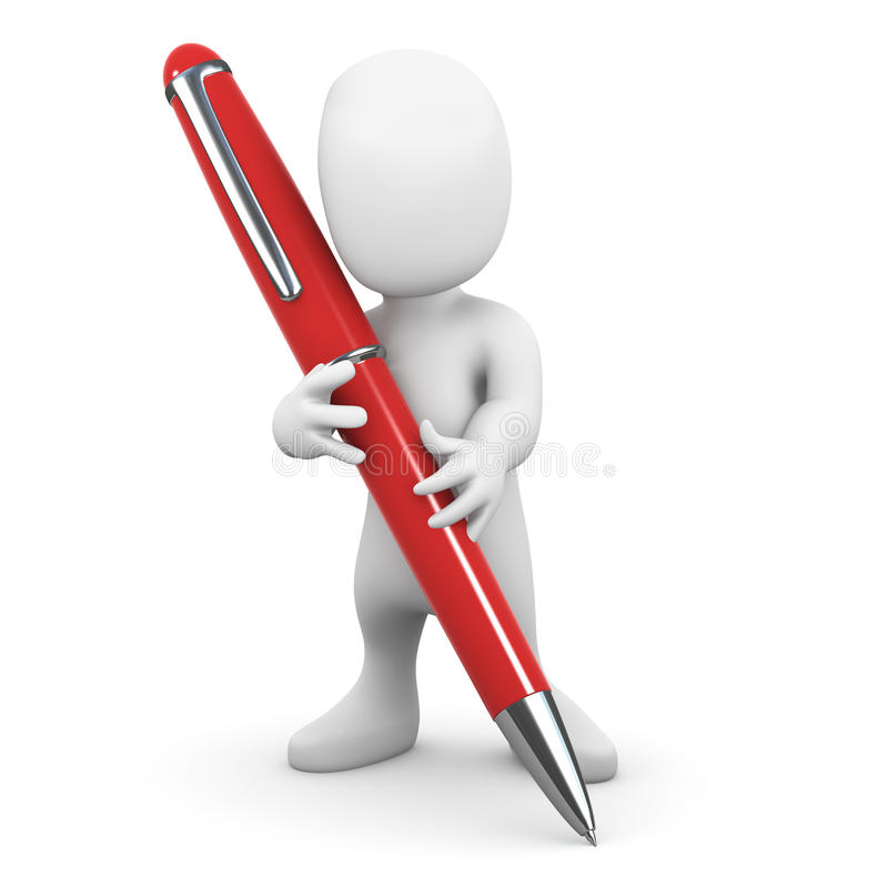 3d Little man writing with a pen vector illustration