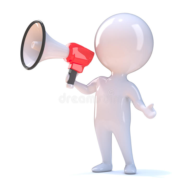 Download 3d Little Person With Bullhorn Stock Illustration - Image: 39304418