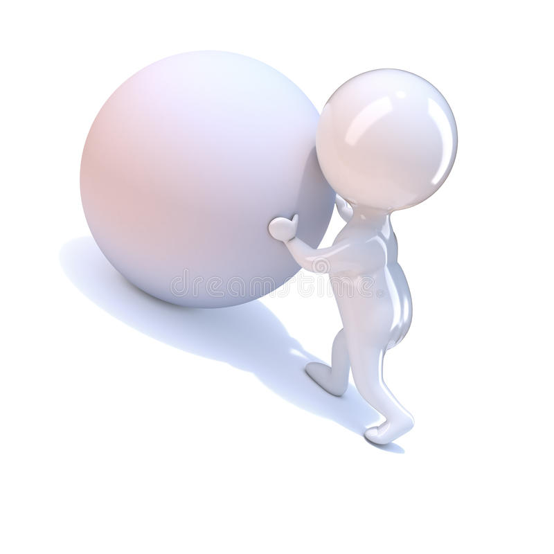 3d Little person pushes a ball uphill vector illustration