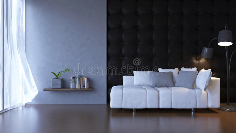 3D living room. 3d rendering image of interior design. Living room which have white sofa on the wooden floor and black leather wall as background. Loft style stock illustration