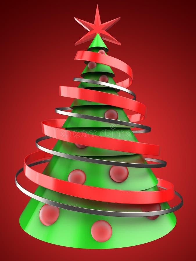 3d ljus - grön julgran royaltyfri illustrationer