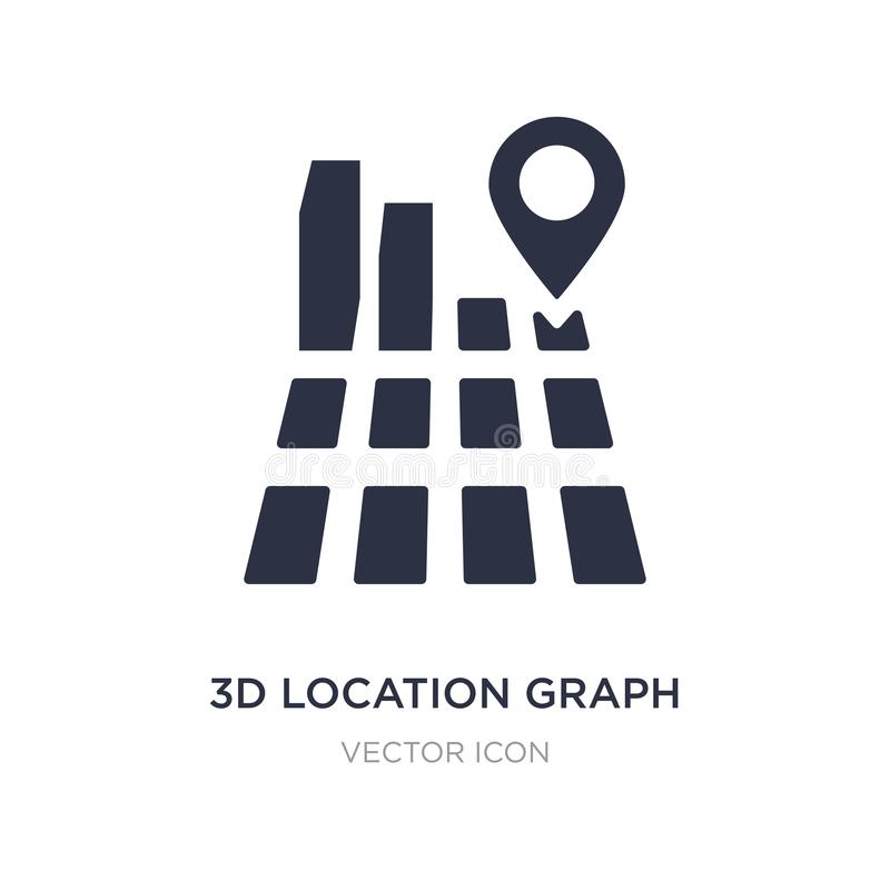 3d location graph icon on white background. Simple element illustration from Business and analytics concept stock illustration