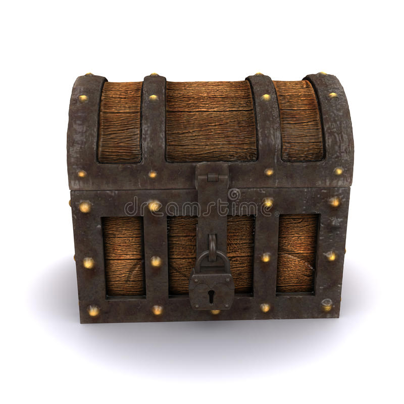 3d Locked treasure chest vector illustration