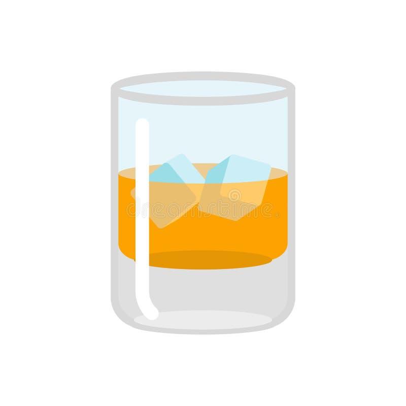 3d lodowy ilustracyjny whisky Szkło scotch na skałach Napój na bielu royalty ilustracja