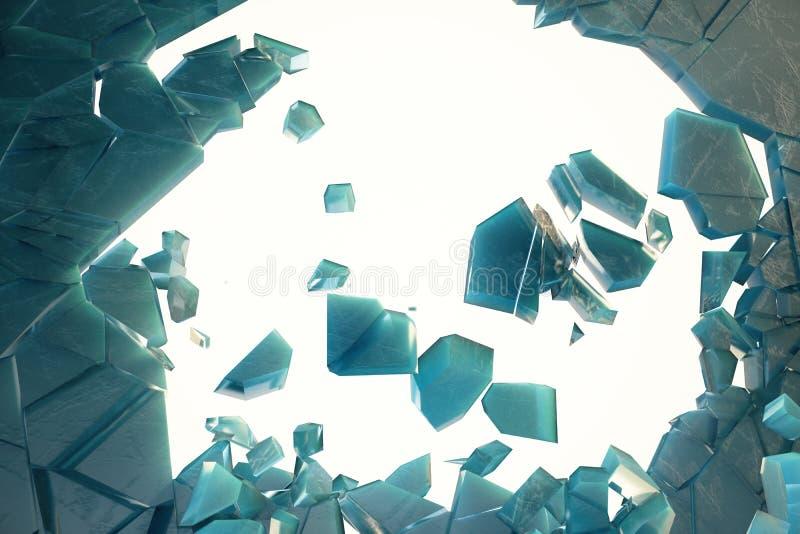 3D lodu ilustracja łamająca ściana z dziurą w centre Miejsce dla twój sztandaru, reklama ilustracji