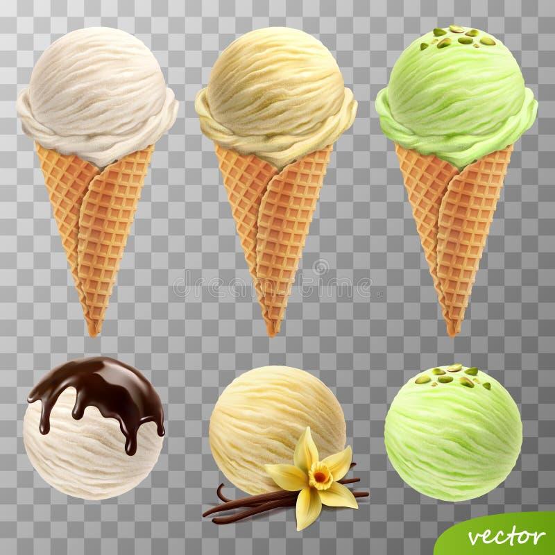 3d lody realistyczne wektorowe miarki w gofrze konusują rozciekłą czekoladę, waniliowego kwiatu i kijów, pistacje royalty ilustracja