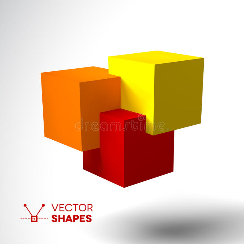 3D logo with bright colored cubes. Red, orange and yellow vector illustration