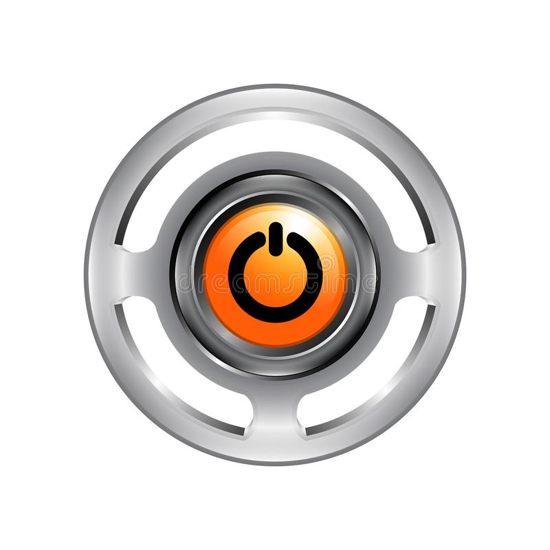 3d logo of chrome power button. Turn off icon vector isolated on royalty free illustration