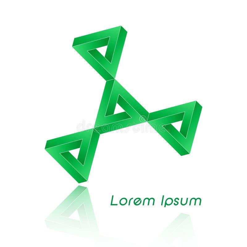 3D Logo Design, conceito verde, este logotipo é apropriado para a empresa, tecnologias do mundo, meios e agências de publicidade  ilustração royalty free