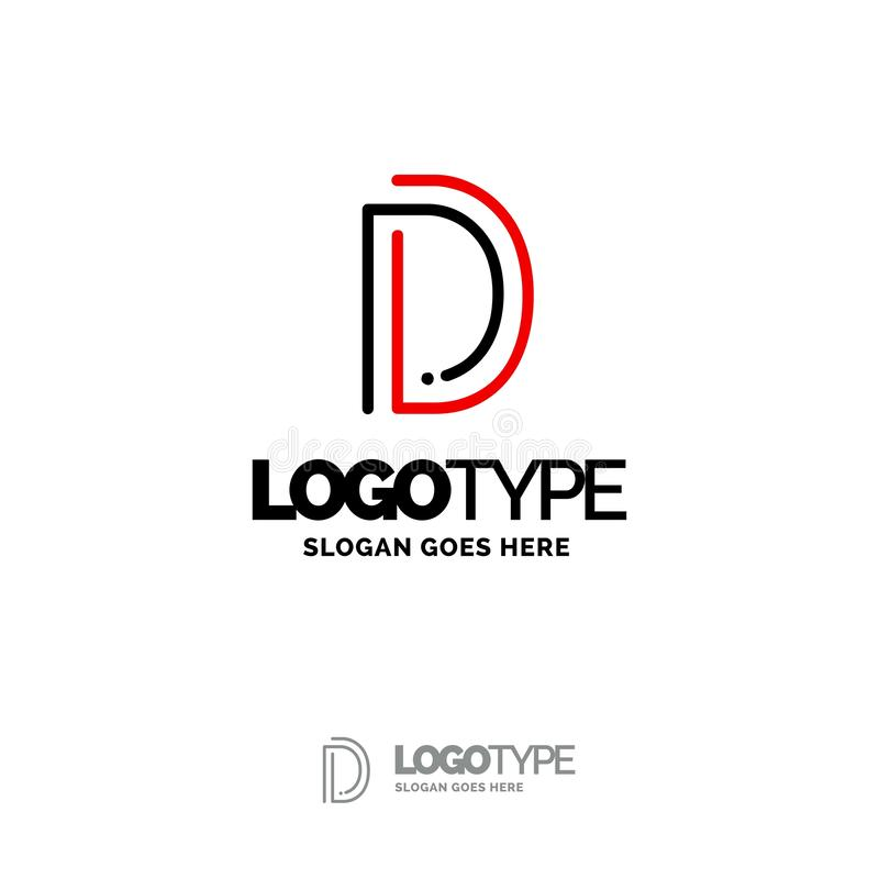 D Logo. Digital Logo template. Black and Red Logo template, Tech royalty free stock image